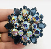 Huge Juliana Delizza And Elster Blue Rhinestone Brooch Ab 2 7/8 In Vintage Jewelry