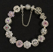 Authentic Pandora Sterling Silver Bracelet Complete 15 Charms 20 Cm 7.9 Retired