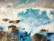 Turquoise On The Rocks By James Dick | Impressionist | Oil Painting | Seascape