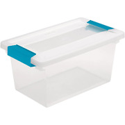 18 Gal. Medium Clip Box Home Storage Bin Container Lid Clear 16 Pack