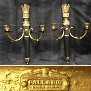 Rare Palladio Italian Neoclassical Style Quiver Themed Gilt Wall Pair Of Sconces