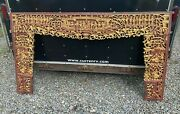 Ornate Antique Paint Decorated Carved Wooden Oriental Panel Fretwork Valence
