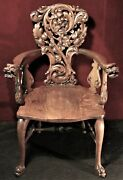 North Winter Chair Dragon Heads Rare Carved Intricate Oak Wood