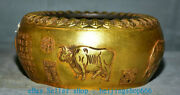 8 Marked Old Chinese Copper Gold Zodiac Year Bull Oxen Incense Burner Censer