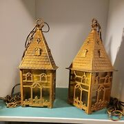 Vintage Pair Slag Glass Hanging Pendant Swag Medieval Gothic Victorian Lamps