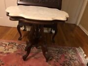 Antique Victorian Marble Topped Parlor Table 1900th Century