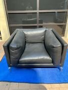 Vintage Comolino Armchair And Ottoman Set In Black Leather