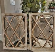 Pair Salvaged Vtg Wooden Window Frames No Glass Shabby Paint Heavy Thick 24x36