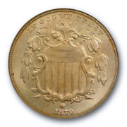 1870 5c Shield Nickel Ngc Ms 65 Uncirculated Golden Toned Old Fatty Holder