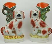 1870's Rare Antique Pair Staffordshire Russet Red And White Spaniels Spill Vases