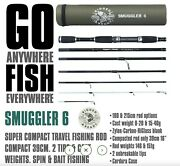 Smuggler 6 Travel Compact Travel, Backpacking Fishing Rod/pole And Case +2 Tips