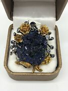 Natural Azurite And Sapphire 68.85ct 925 Sterling Silver Ring - Size 8