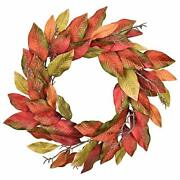 Artificial Fall Door Wreath Magnolia Leaves - 22-24 Inch Red Yellow Farmhouse