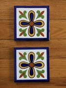 New 12 Hand Painted Blue And White Tiles 4 Square Ceramic Made Peru