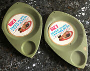 2 Packs Of 4- Wilpak Paper Plate And Cup Holders Nos Avocado Green Vtg Usa Plastic