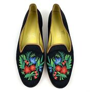Stubbs And Wootton Sz 10 Botanical Floral Embroidered Loafer Black Smoking Flats
