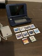 Nintendo New 3ds Xl Galaxy Bundle W/ 10 Games And Charger