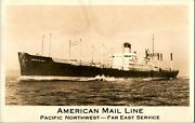 1930's Rppc S.s. American Mail Line Pacific Northwest Far East Service Postcard
