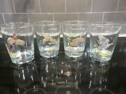 4 Vintage Ned Smith Game Birds 4.25 Lowball Gold Rimmed Tumblers Euc