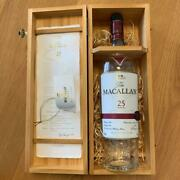 Macallan 25 Years Empty Bottle With Wooden Box Vintage Rare scotch Whiskey