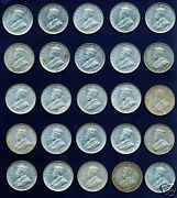 Australia George V 1927 1 Shilling Coins Lot Of 25 Grade Almost Xf