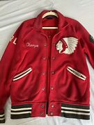 Polo Indian Head New York Red Button Up Varsity Football Jacket Sm