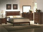 Transitional Style King Bed Dresser Mirror Nightstand 5pc Cherry Finish Set