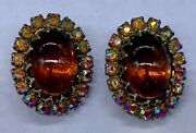 Vintage Oval Amber And Aurora Borealis Glass Victorian Style Earrings