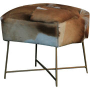 Renwil Cha006 Nutmeg Real Hide With Antique Gold Accent Chair