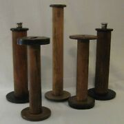 5 Vintage Antique Wooden Textile Mill Thread Bobbins Spools Spindles 9 To 13