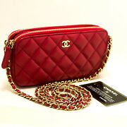 M84 Authentic Red Wallet On Chain Woc Double Zip Chain Shoulder Bag