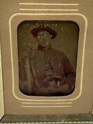Rare Civil War Soldier With Pistol And Sword Small Photograph On Glass Picture