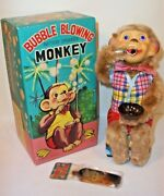 Pristine Mint 1950's Battery Operated Bubble Blowing Monkey Tin Litho Toy Mib