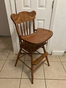 Vintage Oak Press Back Wooden Baby Feeding High Chair With Removable Tray