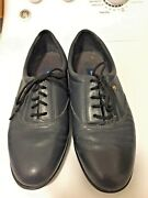 Easy Spirit Anti-gravity Laced Shoe- 7 -navy Bue Leather-rubber Sole- 1/2 Heel