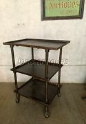 Antique Industrial Work Table / Cocktail Cart In Brushed Steel. L@@k