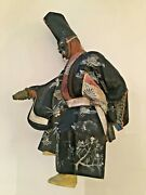 Antique Japanese Hand Carved Wooden Sculpture Of Japanese Man In Kimono And Mask