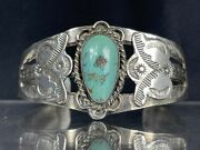 Vtg Old Pawn Navajo Turquoise Sterling Silver Cuff Bracelet 27g