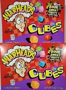 Lot Of 2 Warheads Cubes Sour Sweet Gummy Candy 4oz Pkgs Exp 2/2023 Fast Ship