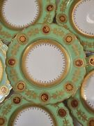 Coalport England Green China Plates Gold Floral Detail, Scalloped Set Of 6 D