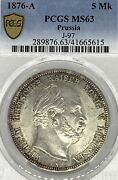 German States Prussia 1876 A 5 Mark Coin Thaler Taler Pcgs Ms 63 Vz/stg Rare Unc