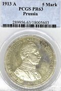 German States Prussia 1913 5 Mark Coin Thaler Taler Pcgs Pr 63 Proof Pp Bust Unc