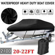20-22ft Waterproof V-hull Boat Cover Heavy Duty 210d Trailerable All Weather