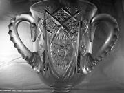 American Brilliant Cut Glass Exceptional Footed 3 Handled Loving Cup Antique