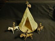 Antique 3 Cbg Mignot Lead Soldiers On Horses Lead Us Flag Topped Military Tent
