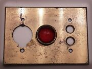 Rare Antique Push Button Light Switch / Socket Plate Cover Red Jeweled Glass