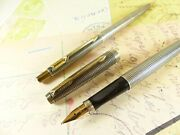 Parker 75 Cisele Sterling Silver Fountain Pen And Pencil Set - Restored