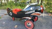 Vintage Afc Airplane Pedal Car Black Shark Attack Fighter Excellant Condition
