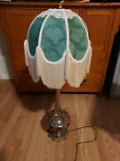 Glass Decorative Brass Lamp With Taylor Made Shade Vintage /possible Antique
