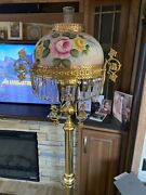 Rare Victorian Style Hand Painted Library Parlor Floor Lamp With Crystal